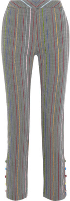 Rosie Assoulin Oboe Striped Houndstooth Wool And Silk-blend Straight-leg Pants