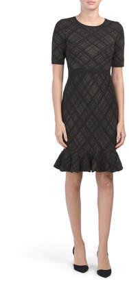 Plaid Sweater Dress With Flounce Hem