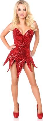 DaisyCorsets Women's Top Drawer Sequin Steel Boned Corset Dress
