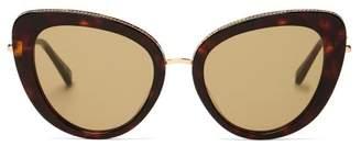 Stella McCartney Chain Trim Cat Eye Metal Sunglasses - Womens - Tortoiseshell
