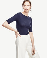 Ann Taylor Stretch Cotton Boatneck Tee