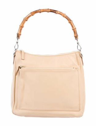 Gucci Vintage Leather Bamboo Handle Bag Tan