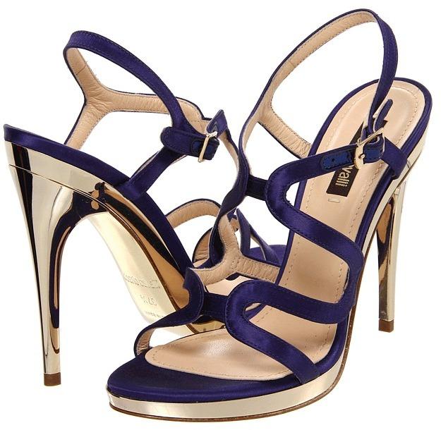 Roberto Cavalli Satin Sandal Pump (05599/Deep Purple) - Footwear