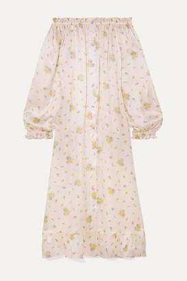 Sleeper Ruffled Off-the-shoulder Printed Silk-satin Midi Dress - White