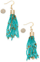 GUESS Gold-Tone 2-Pc. Set Crystal Fireball Stud and Blue Beaded Drop Earrings