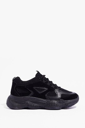 Nasty Gal Womens PU wide fit mono Chunky trainers - Black - 3