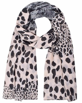CMTOP Women Large Leopard Animal Print Lightweight Soft-touch Everyday Scarf Long Leopard Print Scarf Long Silk Leopard Print Chiffon Scarf Shawl Wrap for Women or Girls