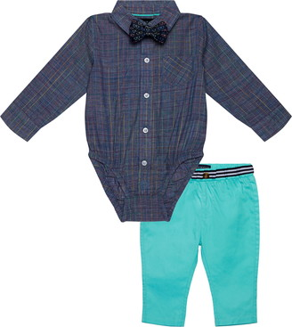 Andy & Evan Andy & Even Chambray Button-Up Bodysuit & Pants Set