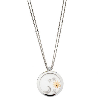 Chopard Happy Sun Moon and Stars Diamond 18K White Gold Double Strand Pendant Necklace