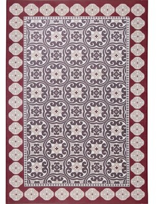 """Nicole Miller Calm Step Comfort Foam Red/Gray Area Rug Rug Size: Rectangle 3'3"""" x 5'"""