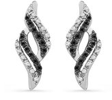 D-GOLD Sterling Silver Black and White Round Diamond Fashion Earring (1/6 cttw)