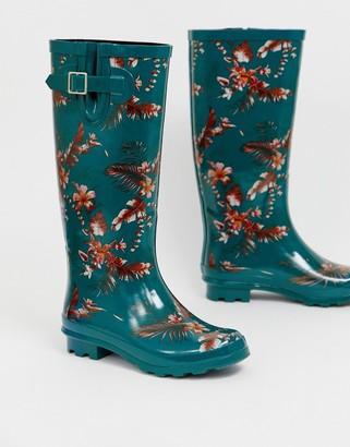 ASOS DESIGN Grace floral wellies