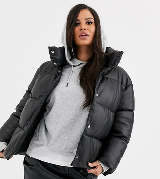 Asos DESIGN Petite leather look puffer jacket