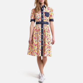 Benetton Button-Through Midi Shirt Dress in Floral Print Cotton with Short Sleeves