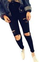 J-Deal® High Waist Woman Knee Skinny Pencil Pants Denim Ripped Jeans (XL, )