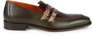 Mezlan Double Buckle Colorblock Leather Loafers