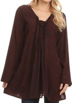 Sakkas 1660 - Caylyan Long Adjustable Embroidered Long Sleeve Blouse With Corset Top - S/M