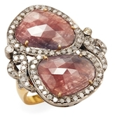 Artisan 18K Yellow Gold, Silver, Pink Sapphire & 1.02 Total Ct. Diamond Cocktail Ring