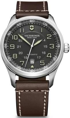 Victorinox Swiss Made Airboss Automatic Black Sapphire Glass Super-LumiNova 42mm Date Dial Brown Leather Strap Watch