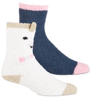 Jenni Women's 2-Pk. Llama & Solid Cozy Crew Socks, Created for Macy's