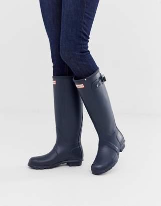 Hunter tall wellington boots in navy