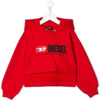 Diesel Logo Embroidered Layered Style Hoodie
