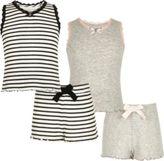 River Island Girls grey and stripe pointelle pajama set