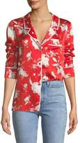Alice + Olivia Keir Piped Silk Pajama-Style Top