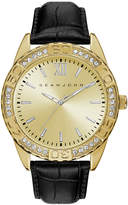 Sean John Men's Bond Black Genuine Leather Strap Watch 48mm