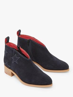 White Stuff Shelly Suede Star Print Boots, Dark Navy