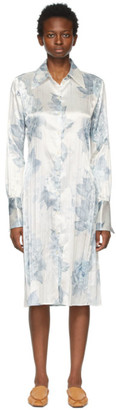 Acne Studios White and Blue Floral Long Sleeve Dress