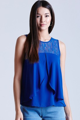 Girls On Film Cobalt Chiffon Lace Top