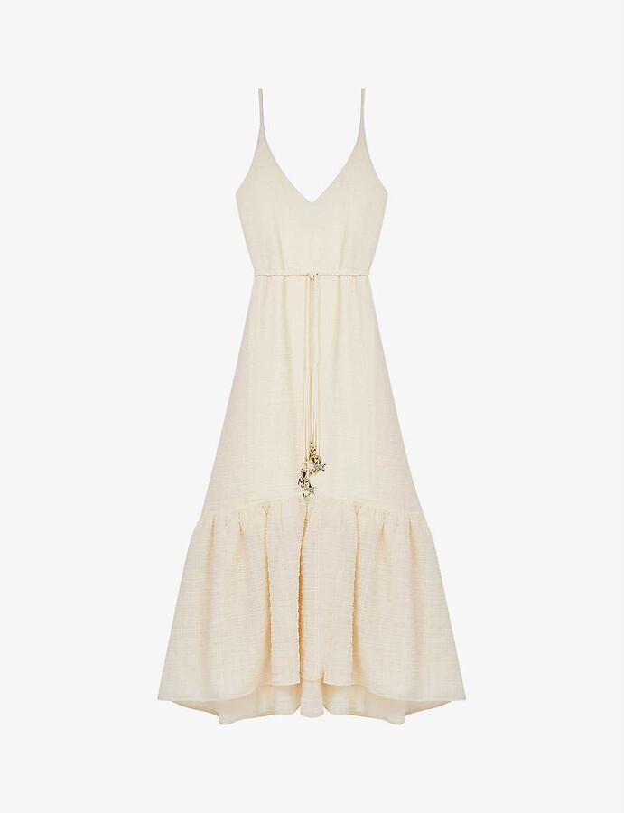 Maje Rolio crinkled woven maxi dress