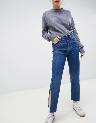 ASOS DESIGN recycled florence authentic straight leg jeans with side splits in rich stonewash blue