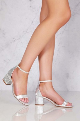 Miss Diva Karley barely there ankle strap block heel sandal in Silver