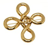 Chanel CC Logo Gold Tone Hardware Brooch