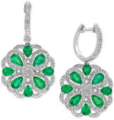 Effy Brasilica Emerald (2-7/8 ct. t.w.) and Diamond (7/8 ct. t.w.) Drop Earrings in 14k White Gold, Created for Macy's
