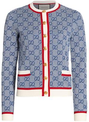 Gucci Fine Wool GG Logo Intarsia Cardigan