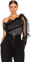 Alberta Ferretti One Shoulder Tulle Top in Fantasy Black | FWRD