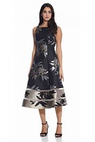 Adrianna Papell Short Jacquard Dress In Black/Champagne
