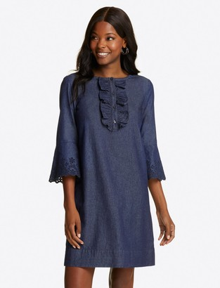 Draper James Embroidered Chambray Ruffle Shift Dress