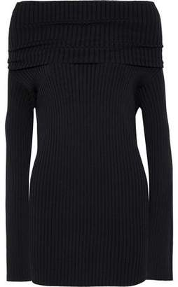 Valentino Off-the-shoulder Ribbed-knit Top