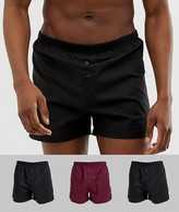 Asos Design ASOS DESIGN 3 pack woven boxers in black & burgundy save-Multi