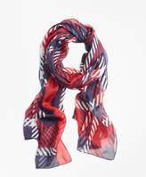 Brooks Brothers Plaid-Print Silk Chiffon Oblong Scarf