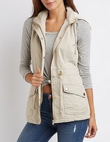 Charlotte Russe Sherpa Lined Hooded Utility Vest