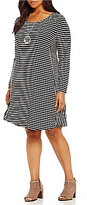 Intro Plus Long Sleeve Striped Pull-Over Swing Dress