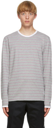 Thom Browne Grey Hairline Stripe Ringer T-Shirt