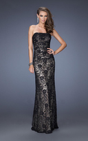 La Femme 19210 Strapless Ruched Lace Evening Gown
