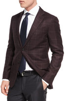 Ermenegildo Zegna Windowpane Plaid Trofeo®; Wool Two-Button Sport Coat, Burgundy/Red