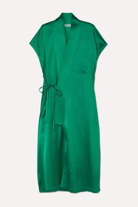 Balenciaga Judo Satin Midi Wrap Dress - Emerald